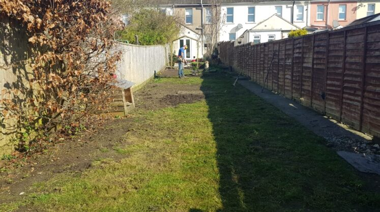 Sarah has a lovely house but the lawn was totally out of control. Pitted and rutted it was impossible to mow. She parks the car at the bottom of the garden and hates having to look at it and the industrial estate behind is an eyesore…..what shall we do? Hmmmm