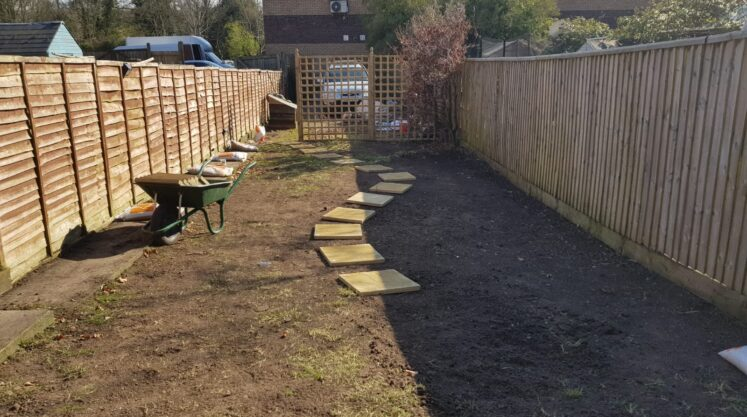 Each slab then needs to be cut in just below the level of the lawn so the mower will pass over it laid on a bed of sand